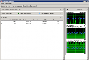 Resyncing the raid lead to permanent activity of both Disks.